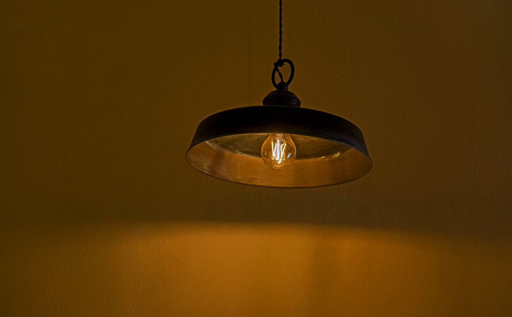 Photo of a ceiling light turned on